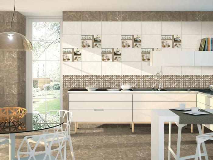 cocinas abiertas al salon, cocina abierta al comedor y el salón en blanco y beige, barras para cocinas multifuncionales