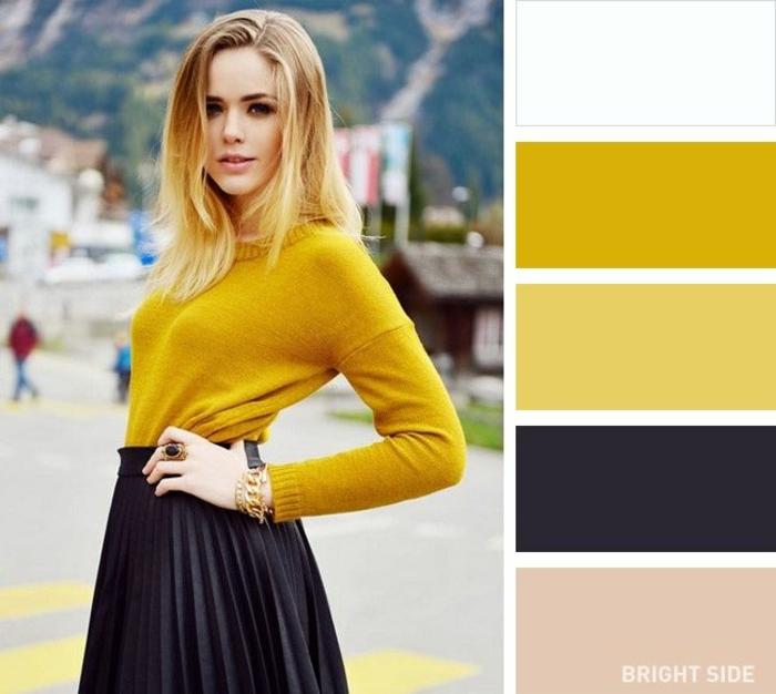 ideas de paleta de colores que combinan entre si, amarillo con beige, negro y rosado, ideas de combinaciones de colores