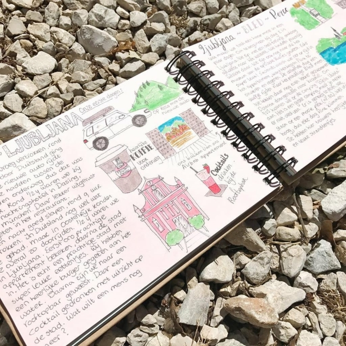 dibujos en un cuaderno DIY, ideas de regalos personalizados temáticos paso a paso, cuaderno con dibujos