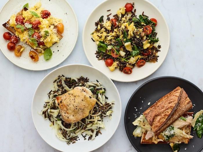 cuatro ideas para cenas saludables y fáciles de hacer, comifas con arroz ricas, pechuga de pollo con arroz marrón