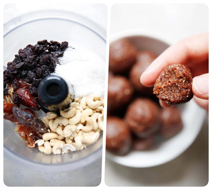 recetas de trufas saludables con dátiles, frutas secas, anacardos y ralladura de coco, recetas con aceite de coco originales