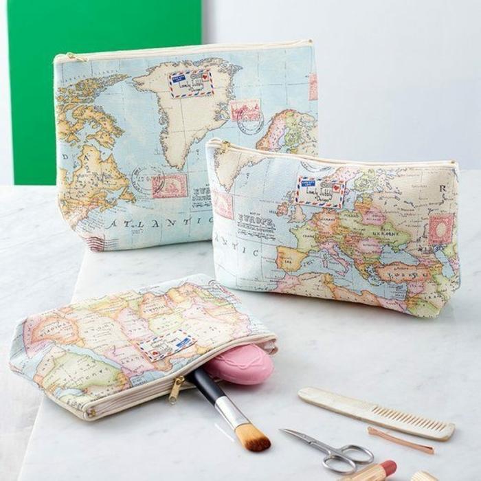 bolsos personalizados para guardar cosas, ideas de regalos utiles para viajeros en bonitas imagines, regalos tematicos