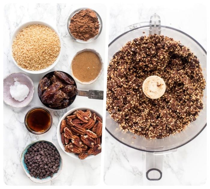 cómo hacer una receta de trufas en casa, trufas saludables con chía, dátiles y nueces pecanas, postres saludables y fáciles