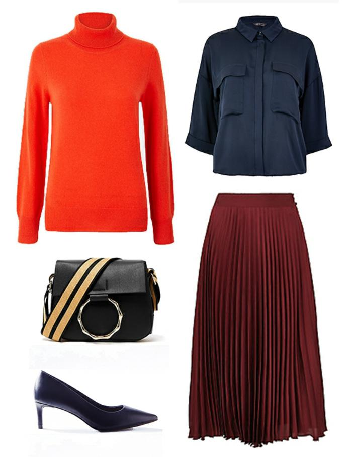 camisa en color azul oscuro, combinada con falda midi en pliegues en color rojo bordeos, tacones en color azul y jersey color naranja