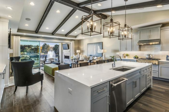 ideas sobre como renovar una cocina abierta al salón, grande barra en blanco multifuncional con electrodomésticos empotrados
