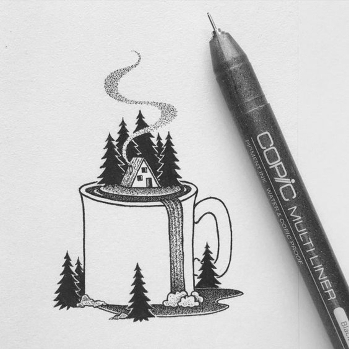 adorable easy and cozy drawing pictures, abstract drawing ideas with nature details