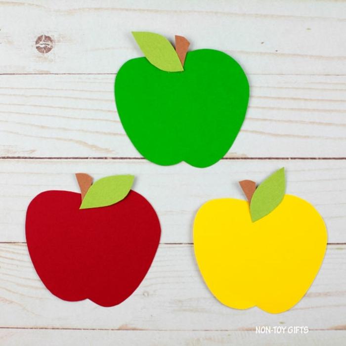 manualidades de cartulina originales, geniales ideas de manualidades para niños de 3 a 5 años, cesta llena de manzanas