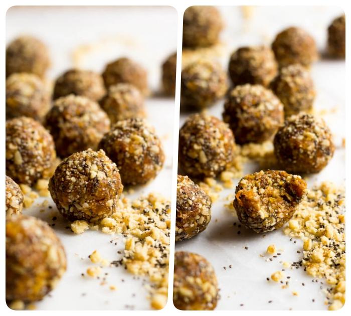 tahini de sésamo, nueces, manteca de maní y semillas de chía, recetas de bocados ricos y saludables, sorprende a tu familia con estas bolas energéticas