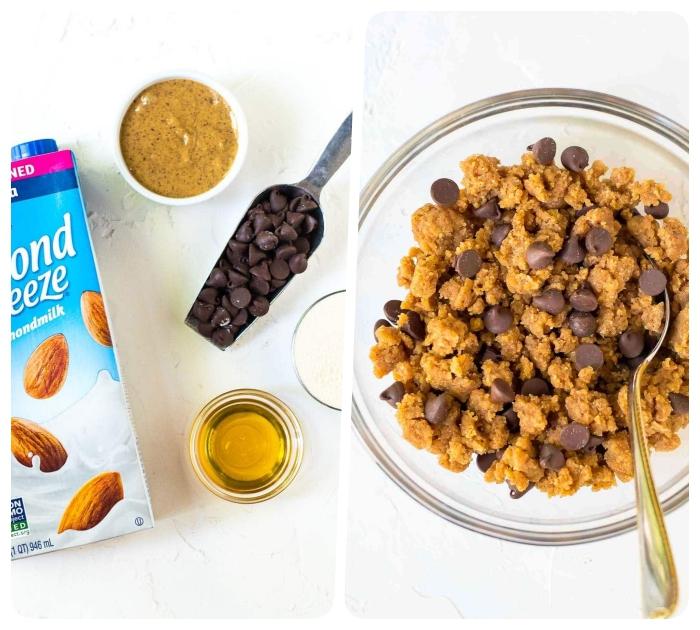 ideas de desayunos saludables con leche de almendras, tahini de sésamo, cereales, miel y chispas de chocolate, postres y desayunos para una dieta equilibrada