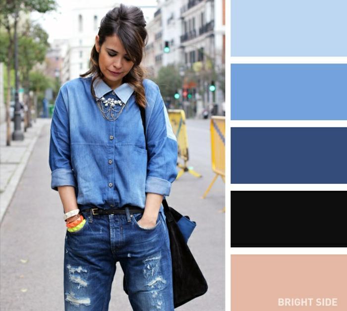 ideas de paleta de colores que pegan bien en un outfit, vaqueros combinados con una camisa de denim y perlas