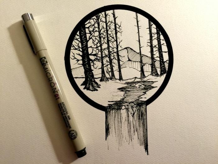 dibujos en blanco y negro para principiantes, bonitas ideas de dibujos en blanco y negro, círculo con árboles, detalles de naturaleza, preciosas ideas de dibujos en negro