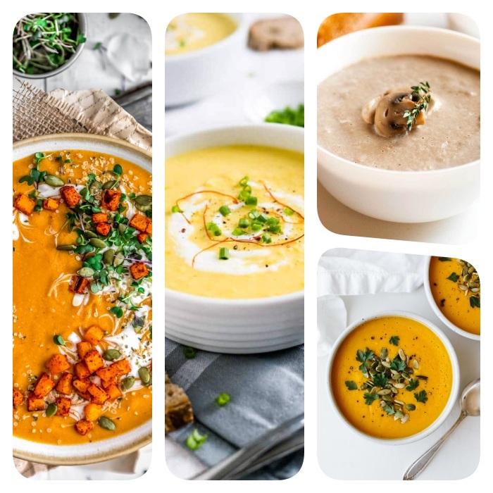 receta de sopa cremos, cuatro variantes de recetas saludables de cenas ligeras, como hacer crema de vegetales, ideas de comidas sanas