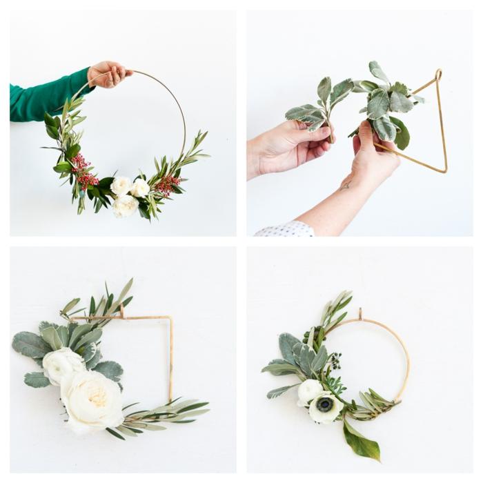 como hacer pequeñas coronas geométricas, decoracion de navidad original paso a paso, ideas de guirnaldas de Navidad DIY