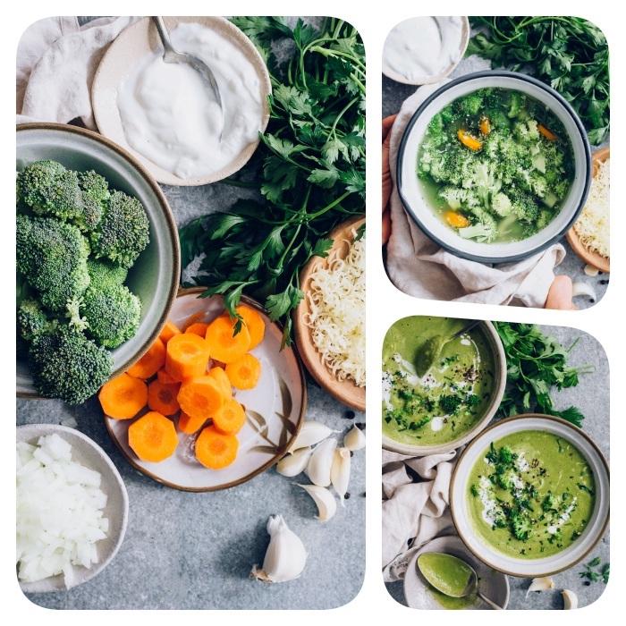 pasos para preparar una crema de brócoli y zanahorias, crema de verduras receta paso a paso, sopa con cebolla y ajo