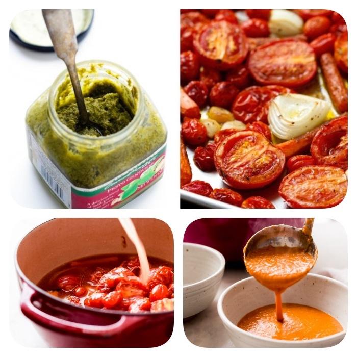 sopas caseras para los días fríos de invierno, sopa de tomates y albahaca para hacer en casa, tomates, cebolla y pesto