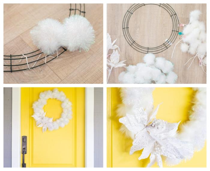 como hacer una corona de navidad con pompones paso a paso, puertas decoradas de navidad bonitas y creativas
