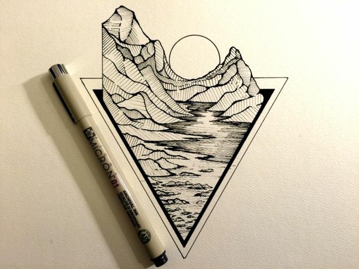 triángulo con paisaje de naturaleza, dibujos del mar originales, dibujos para dibujar inspiradores, ideas de dibujos