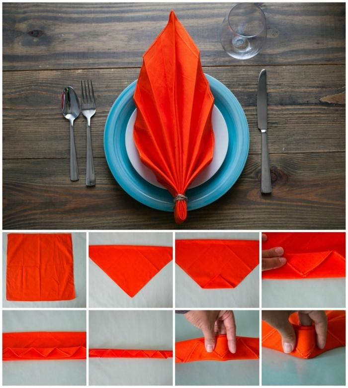 como hacer una hoja grande de una servilleta para una cena en otoño, bonitas ideas para cenas temáticas y mesas decoradas