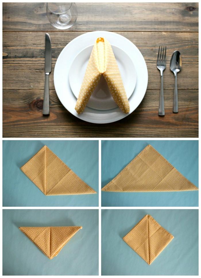 como doblar servilletas para una cena especial, servilleta de tela doblada de una manera original, fotos de mesas decoradas