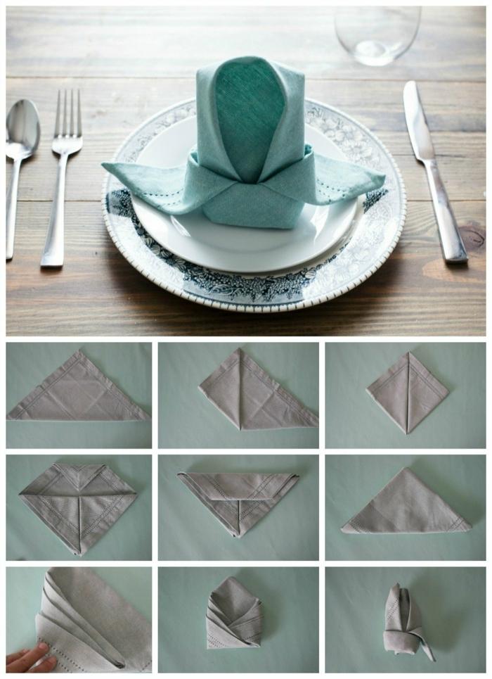 ideas divertidas sobre como doblar servilletas, pequeño detalle para poner en la mesa, servilleta plegadas paso a paso