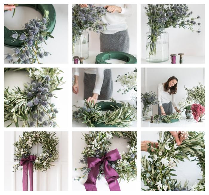 como hacer una guirnalda rústica paso a paso, esponja vegetal original con verduras y flores de campo, ideas de puertas decoradas de navidad