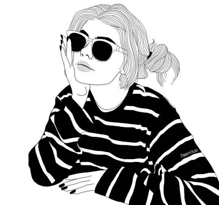 ideas de dibujos para dibujar inspiradores, dibujo niña en blanco y negro, dibujos originales y fáciles de hacer en casa