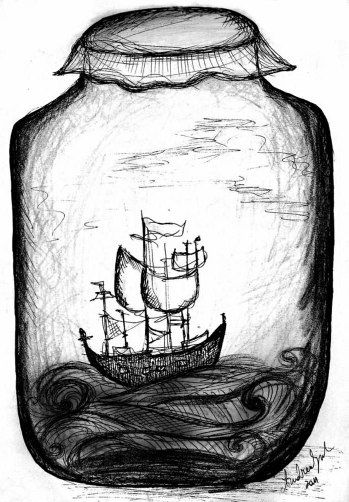dibujo artístico jarrón paisaje natural, ideas de dibujos en blanco y negro abstractos, técnicas para dibujar a lápiz