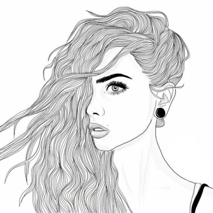 dibujos en blanco y negro de chicas lindas, ideas de dibujos a lápiz bonitos y fáciles de hacer, dibujar personas paso. dibujos en blanco y negro para principiantesa paso