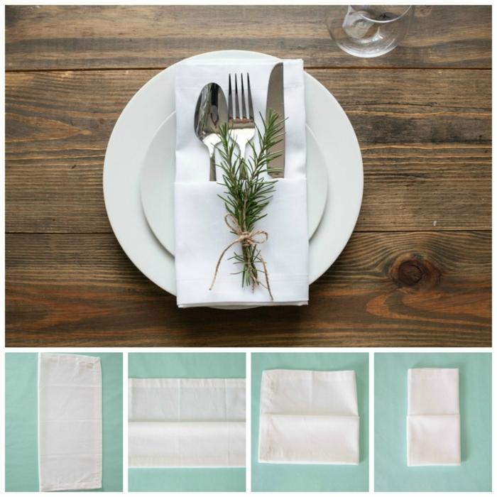 geniales ideas sobre como doblar servilletas para una cena de Navidad, servilleta de tela en blanco con detalles decorativos