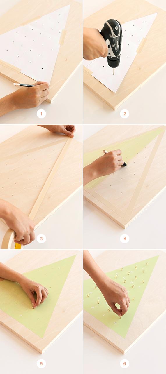pasos para hacer un calendario de madera decorativo en forma de árbol navideño, calendario de adviento personalizado