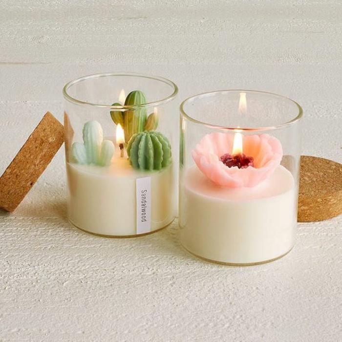 fotos de regalos de navidad originales, velas aromáticas en frascos de vidrio, terrario decorativo con velas, ideas paa regalar