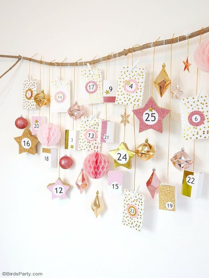 calendario navideño colgante con adornos navideños bonitos, calendario de adviento personalizado y fácil de hacer en casa
