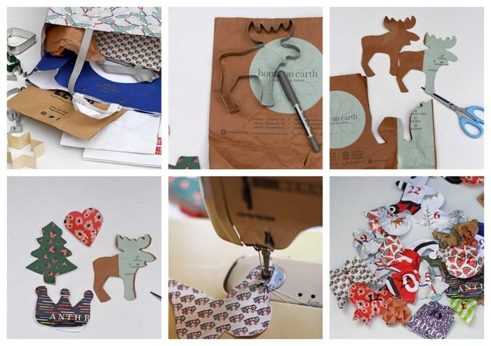 como hacer unos adornos DIY de bolsas de papel, manualidades para navidad originales, tutoriales de manualidades fáciles