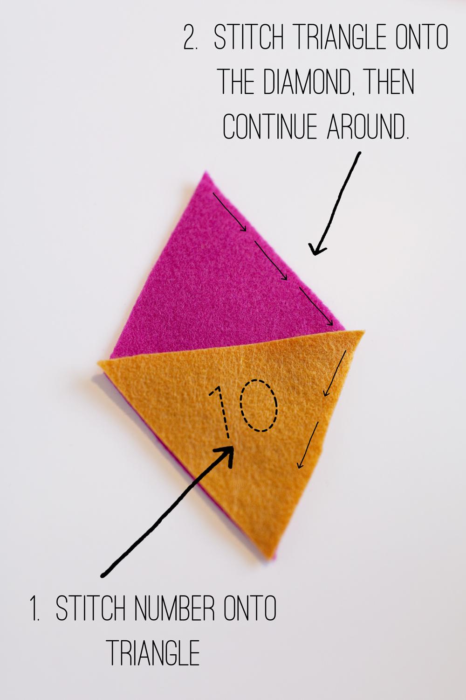 pequeños bolsillos hechos de fieltro para hacer un calendario DIY, pasos para hacer un como hacer un calendario de adviento