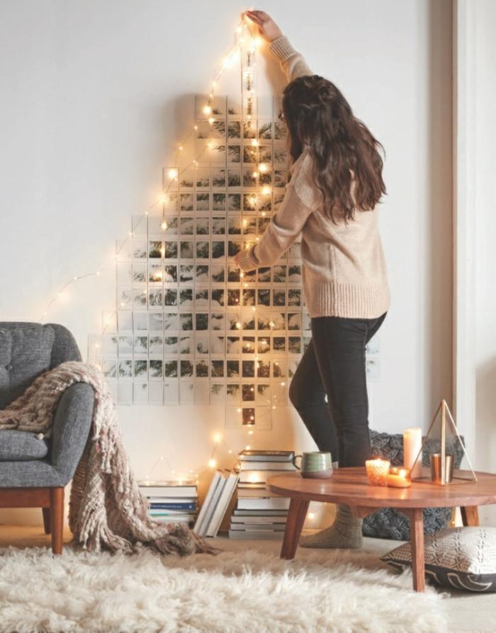 ideas de calendarios de adviento y decoración casera para Navidad, árbol navideño de fotos pegadas a la pared