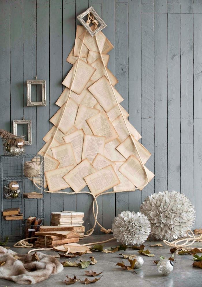 arboles de navidad originales caseros hechos de papel reciclado, árbol de navideño de páginas de libros, árboles de papel