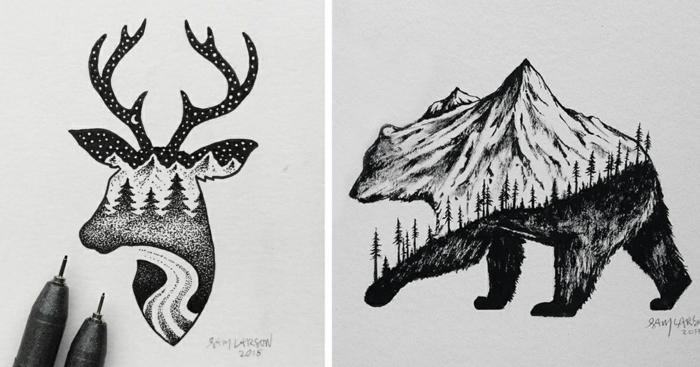 inspiradores motivos mágicos para redibujar, dibujos de animales con detalles de naturaleza, ideas de dibujos hermosos