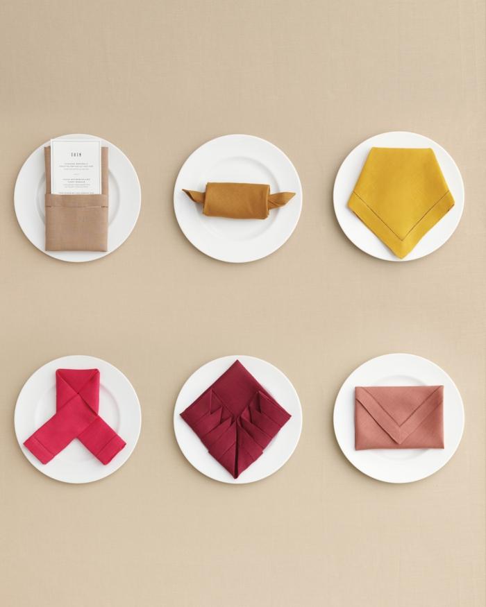 seis magníficas ideas de doblaje de servilletas fácil, como doblar servilletas de tela para decorar la mesa, manualidades para decorar la mesa
