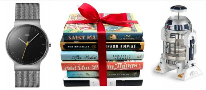 tres ideas de regalos para navidad para hombres, ideas sobre que regalar a mi novio en fotos, reloj moderno, libros temáticos