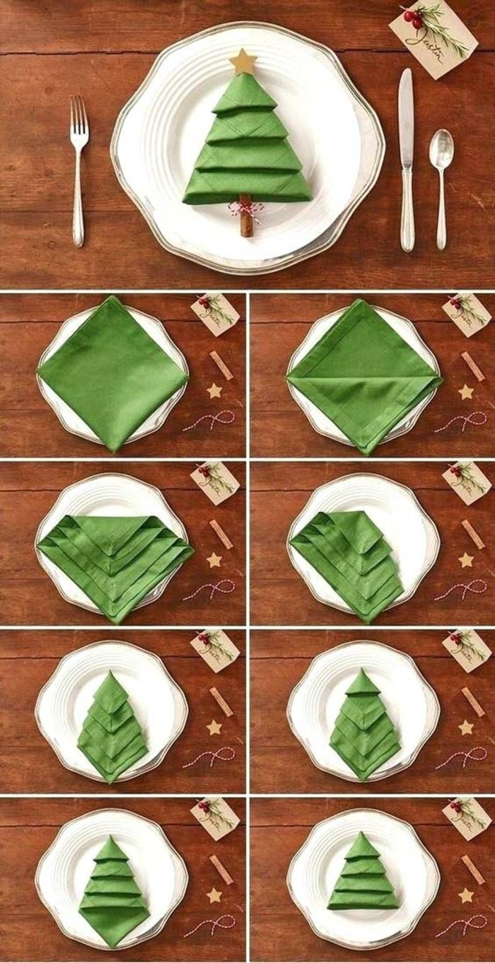 cómo hacer un árbol de navidad de una servilleta de papel paso a paso, tutoriales de manualidades para decorar la casa