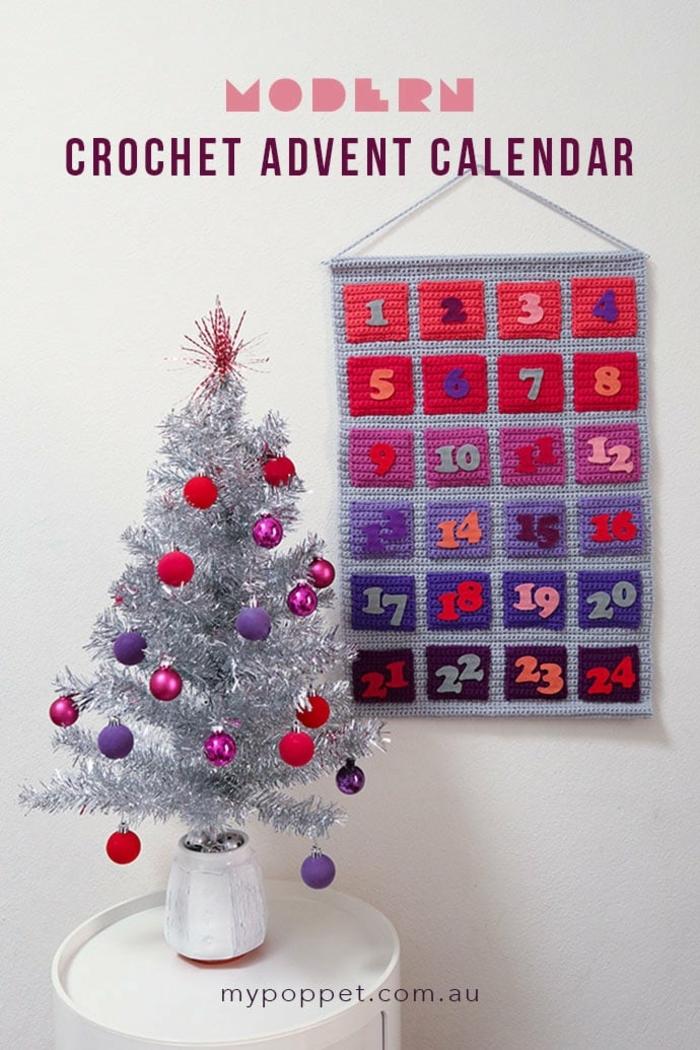 calendario de adviento colorido y divertido para colgar a la pared, manualidades para navidad originales en fotos