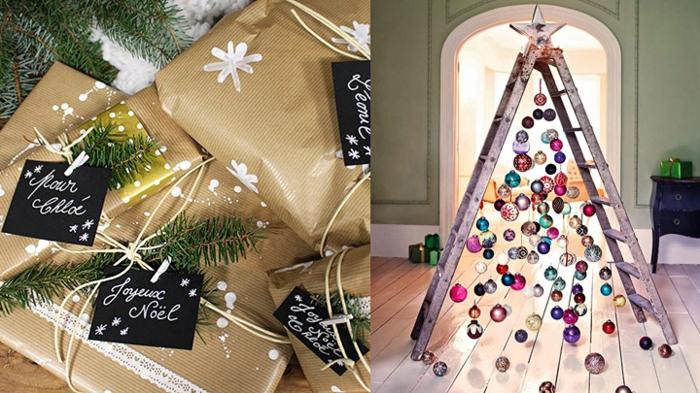 fascinantes ideas de decoracion navideña, arbol de navidad de madera, cómo hacer un árbol de navidad de una escalera de madera