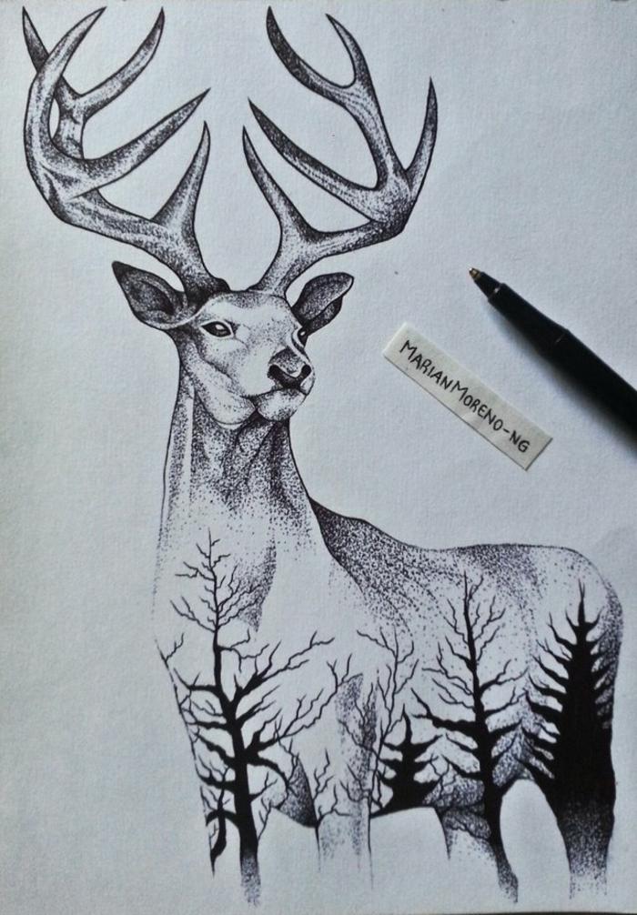 dibujos en blanco y negro para principiantes y avanzados, hermoso dibujo de reno con detalles de naturaleza, dibujo a lapiz original y fácil de hacer, dibujos impresionantes para redibujar