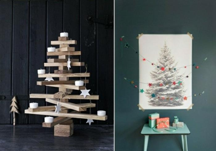 dos propuestas de decoración para navidad original, arbol de navidad de madera DIY, pasos para decorar la habitación