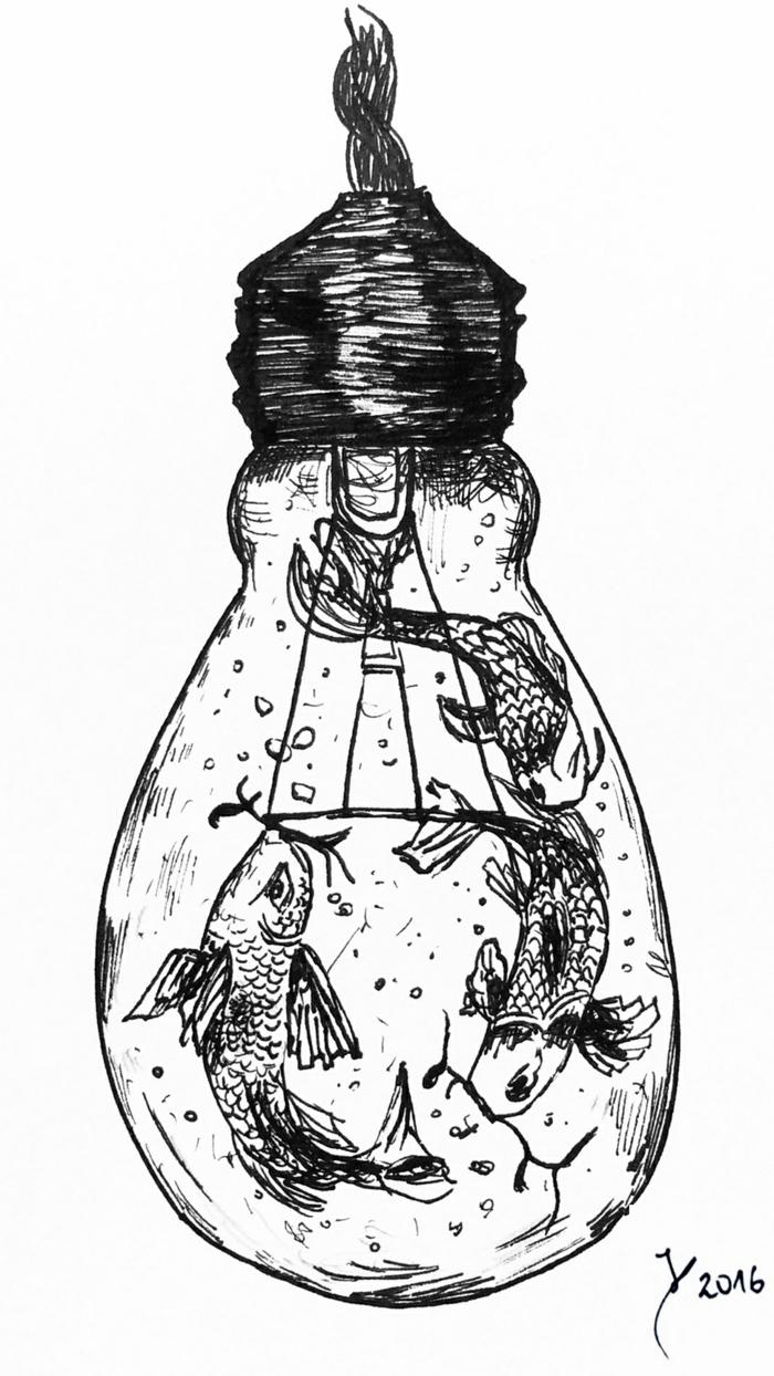 dibujos para calcar o redibujar, dibujo bombilla con peces Koi, ideas de dibujos originales que inspiran, más de 90 dibujos