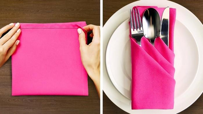 servilleta de tela en color rosa vibrante, como doblar servilletas de papel de forma original, tutoriales paso a paso