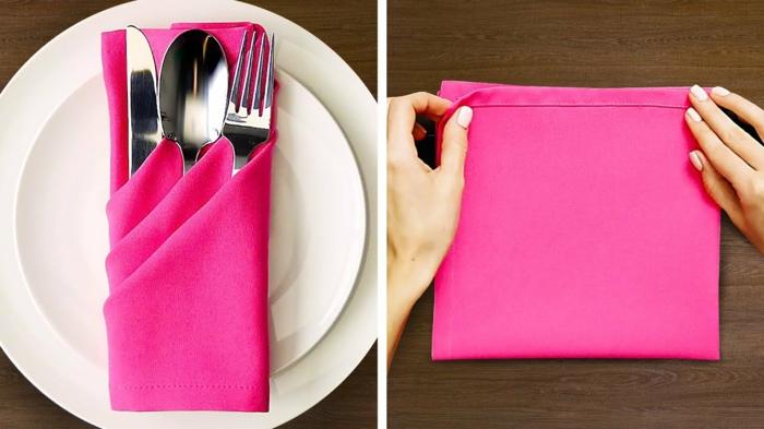 servilleta de tela en color rosa vibrante para guardar los cubiertos, como doblar servilletas elegantes para decorar la mesa