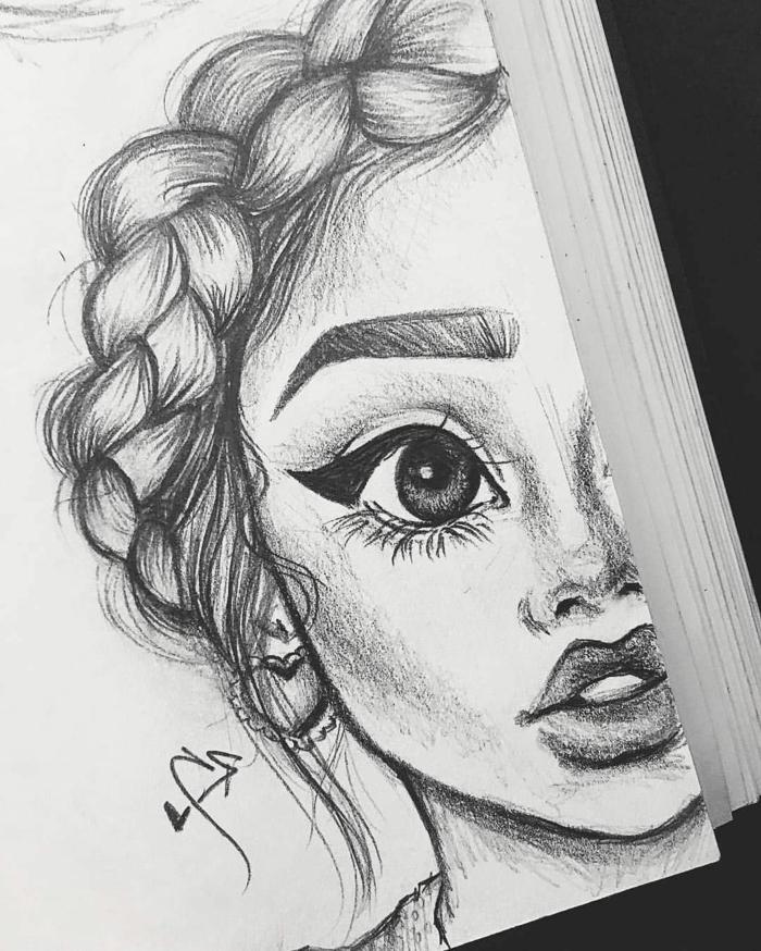 dibujos de chicas lindas con ficciones exageradas, niña con pelo recogido en trenza, preciosos dibujos de niñas para dibujar en casa