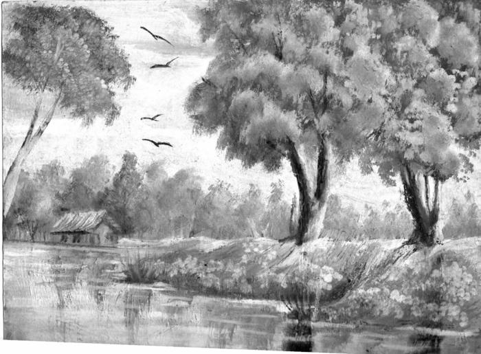 hermoso paisaje de naturaleza dibujado a lapiz, dibujos para calcar y redibujar, dibujos con sombras, ideas de imagenes de paisajes naturales