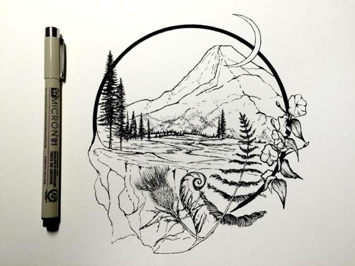 dibujos faciles a lapiz o marcador negro, pequeños dibujos con motivos de naturaleza y figuras geométricas, ideas de dibujos